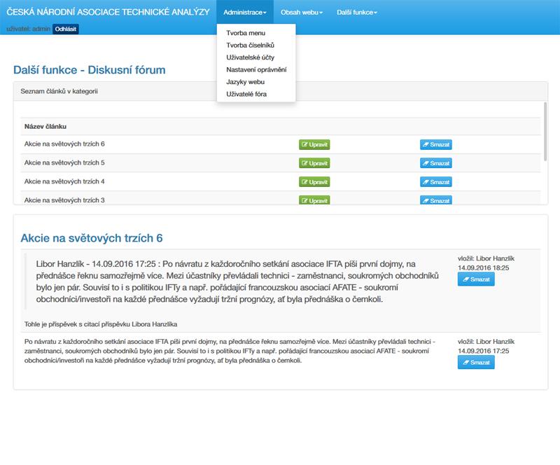 administrační rozhraní stránek