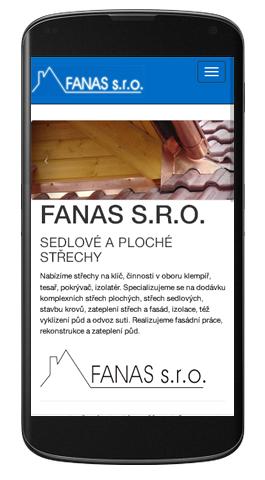 Fanas - mobilní zobrazení