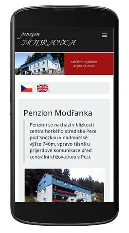 Penzion Modřanka - mobilní zobrazení
