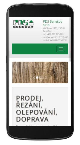 PDS Benešov - mobilní zobrazení