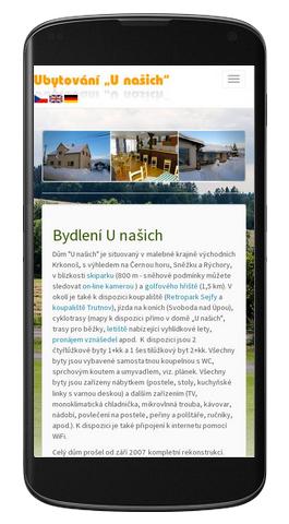 Penzion U našich - mobilní zobrazení