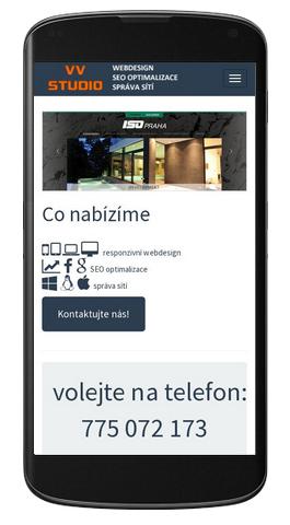 VV Studio - mobilní zobrazení